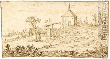 Landscape With A Chapel On A Hill by Jan van Goyen - Reproduction Oil Painting