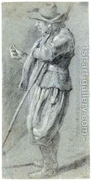 Study Of A Standing Man by Dutch School - Reproduction Oil Painting