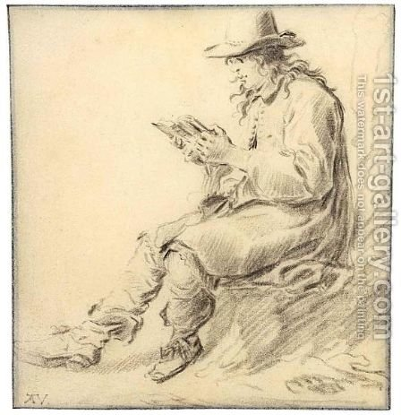 A Man In A Hat, Reading by Arie de Vois - Reproduction Oil Painting