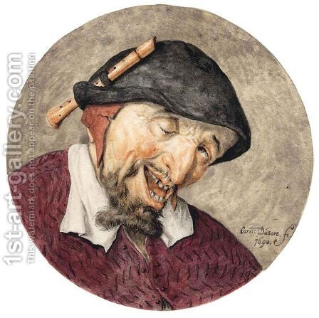 Caricature Head Of A Leering Man, A Recorder Tucked Into His Hat by Cornelis Dusart - Reproduction Oil Painting