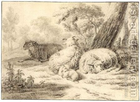 Sheep And A Lamb Near A Tree by Jan van der the Younger Meer - Reproduction Oil Painting