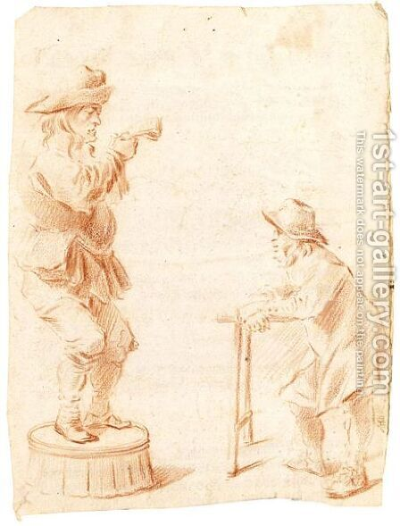 A Man Standing On A Barrel And A Man With A Walking Frame by Dutch School - Reproduction Oil Painting