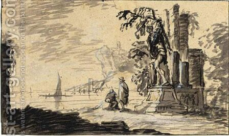 Italianate Coastal Scene, With Two Figures By A Ruin And A Statue by (after) Adriaen Van Der Kabel - Reproduction Oil Painting