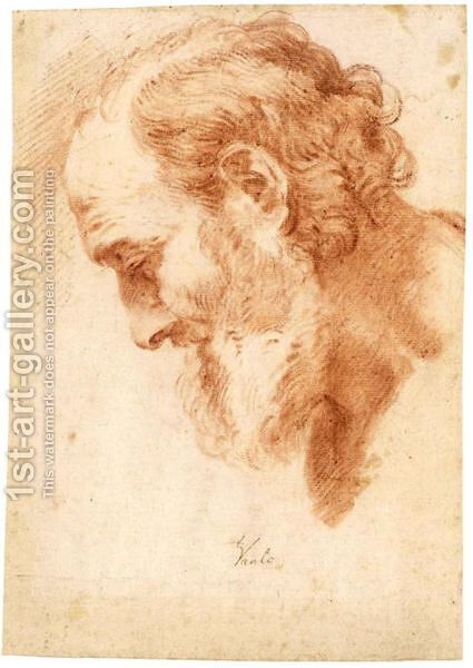Study Of The Head Of A Bearded Man by (after) Loo, Carle van - Reproduction Oil Painting