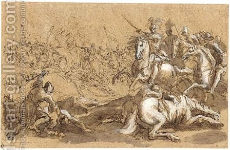 Battle Scene by (after) Jacques (Le Bourguignon) Courtois - Reproduction Oil Painting