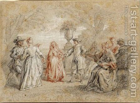 An Elegant Company Dancing And Making Music In A Garden Setting, Within A Fictive Frame by (after) Watteau, Jean Antoine - Reproduction Oil Painting