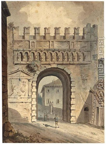 An Italian Town Gate by (after) Victor-Jean Nicolle - Reproduction Oil Painting
