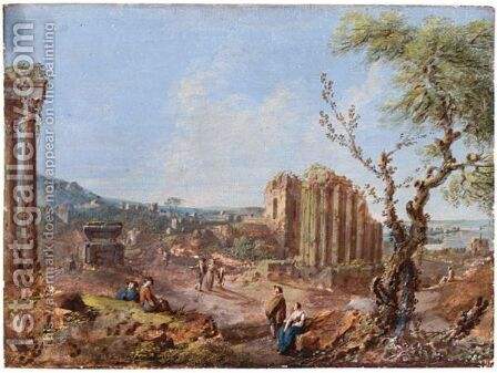 Landscape With Ruins And Figures by Italian School - Reproduction Oil Painting