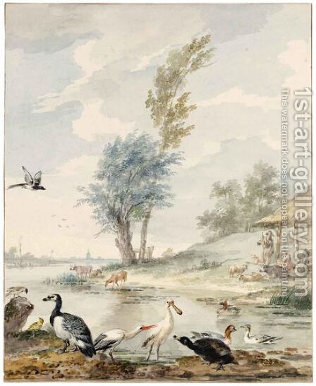 Dutch River Landscape With A Spoonbill, A Stork, A Goose, Ducks And Other Birds by Aert Schouman - Reproduction Oil Painting