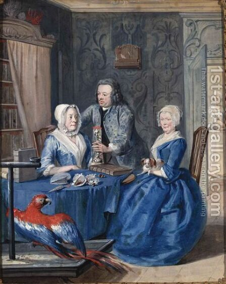 The Collector Jan Snellen With His Mother, Margaretha Van 'T Wedde, And His First Wife, Krijna Vroombrouck by Aert Schouman - Reproduction Oil Painting