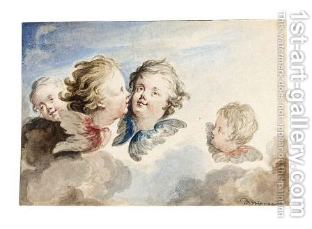 Four Heads Of Putti by Dionys Van Nijmegen - Reproduction Oil Painting