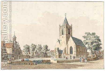 View Of The Townhall, Market-Place And Church Of Vlaardingen by Cornelis Pronk - Reproduction Oil Painting