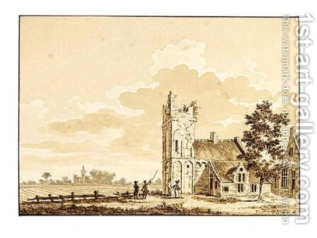 Landscape With A Church With A Ruined Tower by Dutch School - Reproduction Oil Painting