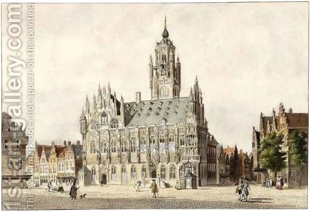 View Of The Town Hall Of Middelburg by Dutch School - Reproduction Oil Painting