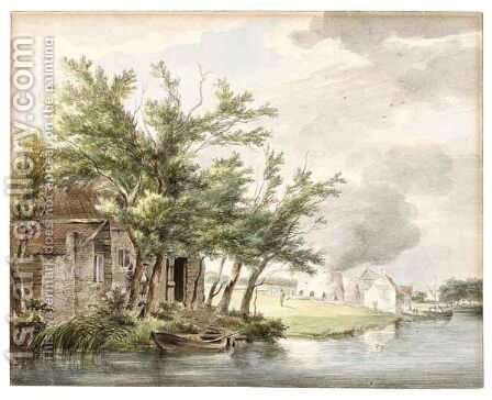 Lime-Kilns Along The Leidse Vaart Near Hillegom by Hermanus Van Brussel - Reproduction Oil Painting
