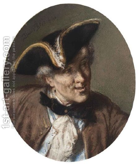 Portrait Of A Young Man, Bust-Length, In An Eighteenth-Century Costume by David Joseph Bles - Reproduction Oil Painting