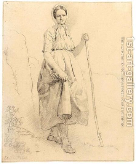 A Shepherdess by Barend Cornelis Koekkoek - Reproduction Oil Painting