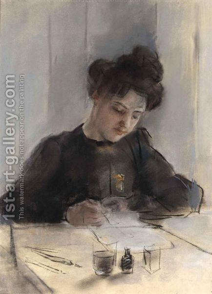 A Girl Sketching by Isaac Israels - Reproduction Oil Painting