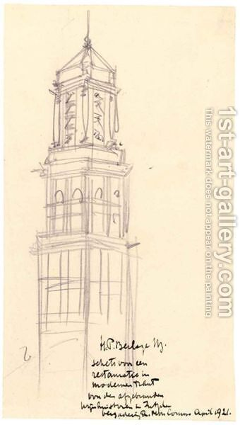 Design For A Proposed Restoration Of The Wijnhuistoren, Zutphen by Hendrik Petrus Berlage - Reproduction Oil Painting