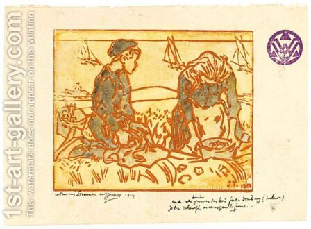 A Boy And Girl Digging Potatoes In The Dunes by Jan Toorop - Reproduction Oil Painting