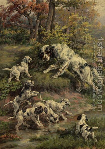 Setter And Her Puppies by Edmund Henry Osthaus - Reproduction Oil Painting