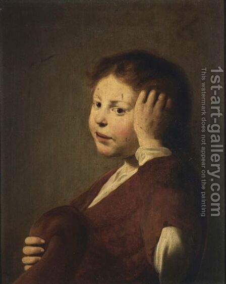 A Young Boy With His Hand In His Hair, Holding A Hat In His Hands by Haarlem School - Reproduction Oil Painting