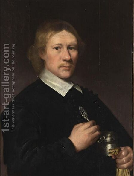 A Portrait Of A Dentist, Aged 35, Half Length, Wearing A Black Coat With White Collar, Holding A Silver Tongue-Spatula In His Right Hand, And A Silver Box Under His Left Arm by (after) Jacob Gerritsz. Cuyp - Reproduction Oil Painting
