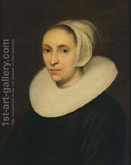 A Portrait Of A Lady, Aged 42, Bust Length, Wearing A Black Dress With A White Lace Millstone Collar And A White Cap by (after) Jacob Gerritsz. Cuyp - Reproduction Oil Painting