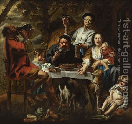 A Peasant Eating Porridge At A Table Together With A Mother And Child And Other Figures Drinking And Eating, Dogs In The Foreground by (after) Jacob Jordaens - Reproduction Oil Painting