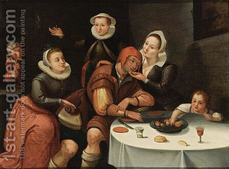 A Peasant Sitting At A Table Being Courted And Robbed By Three Young Ladies, An Old Spinster In The Background And A Boy Picking Fruit From The Table by (after) Marten Van Cleve - Reproduction Oil Painting