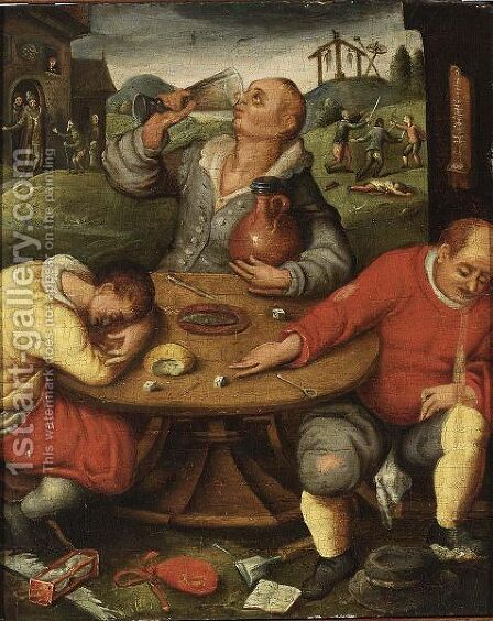 Peasants Drinking Outside An Inn, With A Skirmish In The Background by (after) Marten Van Cleve - Reproduction Oil Painting