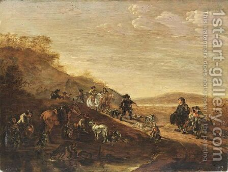A Hilly Landscape With Sportsmen, Horses And Hounds Resting After The Hunt by Dirck Willemsz. Stoop - Reproduction Oil Painting