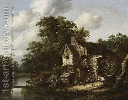 A Farmstead Near A Stream, With A Fisherman In A Rowing Boat, A Couple Crossing A Bridge And Figures Near A Farm by Cornelius Decker - Reproduction Oil Painting