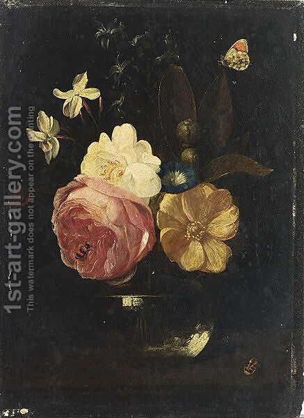 A Still Life With A Pink Rose, A White Rose, A Yellow Rose, Morning Glory, Amethyst Hyacinths In A Glass Vase, Together With An Orange Tip, Snails And A Ladybird by (after) Frans Van Everbroeck - Reproduction Oil Painting
