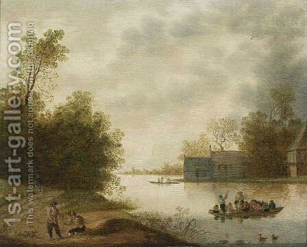 A River Landscape With A Ferry And Figures Resting In The Foreground, Farms Beyond by Anthonie Verstraelen - Reproduction Oil Painting