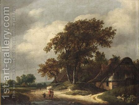 A Wooded Landscape With Two Peasants And A Little Boy Walking Near A Farm by Haarlem School - Reproduction Oil Painting