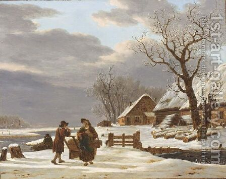 A Winter Landscape With A Farmstead Near A Frozen River And A Couple Conversing by Jacob van Strij - Reproduction Oil Painting