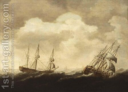 Merchantmen In Stormy Seas by Jacob Gerritz Loef - Reproduction Oil Painting