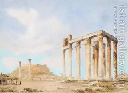 The Temple Of Olympeus Zeus With The Acropolis Beyond by Giovanni Lanza - Reproduction Oil Painting