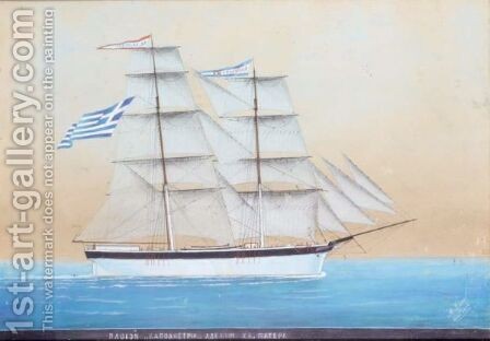 The Ship 'Kapodistria' by Aristidis Glykas - Reproduction Oil Painting