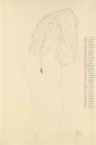 Nach Rechts Aufgestutzt Stehender Akt, Das Gesicht Durch Die Haare Verdeckt (Standing Nude With Her Face Covered By Her Long Hair) by Gustav Klimt - Reproduction Oil Painting