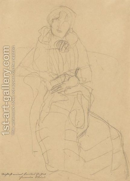 Seated Lady From The Front, Study For The Portrait Of Marie Henneberg by Gustav Klimt - Reproduction Oil Painting