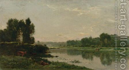 Bords De Riviere by Charles-Francois Daubigny - Reproduction Oil Painting