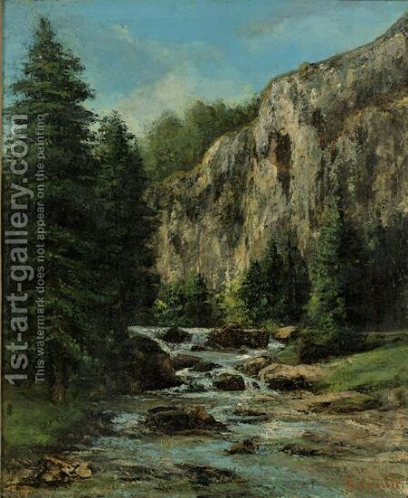 Etude Pour Paysage Au Torrent by Gustave Courbet - Reproduction Oil Painting