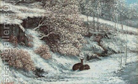 Biches Dans La Neige by Gustave Courbet - Reproduction Oil Painting