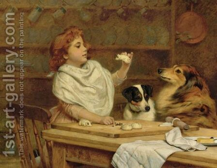 The Litte Baker With Her Two Assistants by Charles Burton Barber - Reproduction Oil Painting