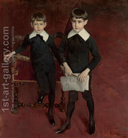 Portrait Of Luis And Pedro Subercaseaux by Giovanni Boldini - Reproduction Oil Painting