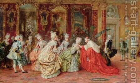 An Audience With The Cardinal by A. Zoffoli - Reproduction Oil Painting