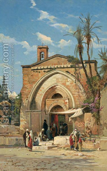 In The Courtyard by Hermann David Solomon Corrodi - Reproduction Oil Painting