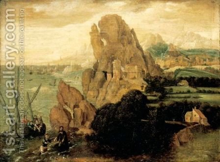 Landscape With The Calling Of Saint Peter by (after) Herri Met De Bles - Reproduction Oil Painting